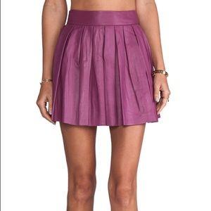 Alice + Olivia Box Pleat Leather Skirt Mulberry